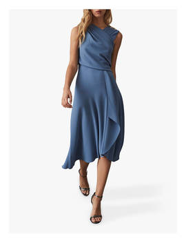Reiss Marling Wrap Front Midi Dress, Mid Blue by Reiss