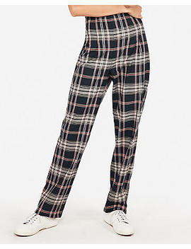 High Waisted Plaid Wide Leg Pant by Express