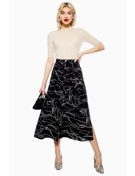Horse Scribble Midi Skirt by Topshop