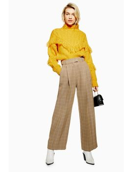 Check Wide Leg Trousers by Topshop