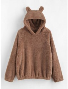 Cat Ear Fleece Pullover Hoodie   Camel Brown S by Zaful