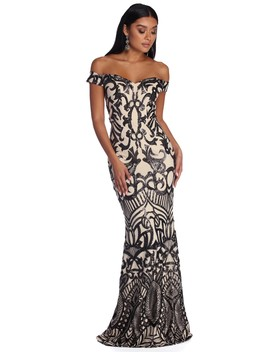 Monica Sequin Scroll Formal Dress by Windsor