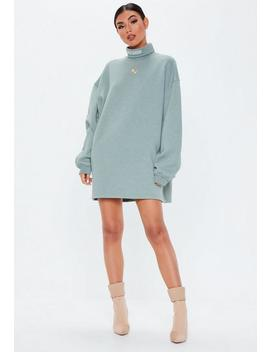 Grey Roll Neck Embroidered Sweater Dress by Missguided