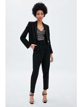 Spodnie Z Paskiem Ze SprzĄczkĄ  Z Zakładkami Spodnie Kobieta WyprzedaŻ by Zara
