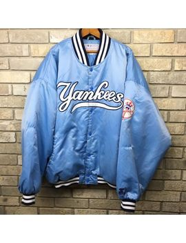Rare Vintage 90s Starter New York Yankees Satin Jacket Fits Mens Xxl Baby Blue by Ebay Seller