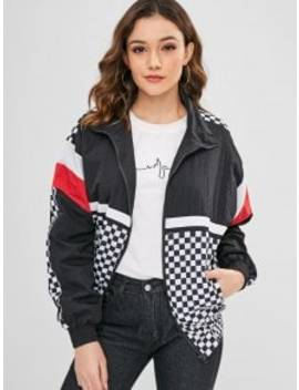 Wind Proof Checkered Training Jacket   Multi Xl by Zaful