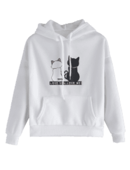 Fleece Lined Pocket Cat Print Hoodie   White M by Zaful