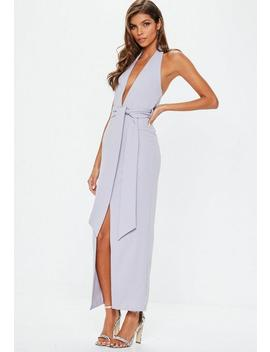 Lilac Plunge Tie Waist Maxi Dress by Missguided