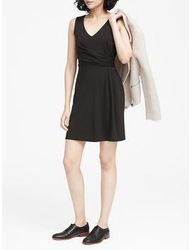 Petite Soft Ponte Twist Front Dress by Banana Repbulic