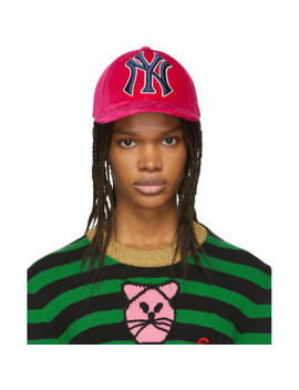 Pink Ny Yankees Edition Velvet Cap by Gucci