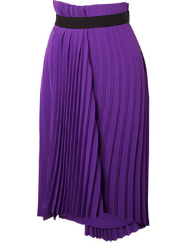 Asymmetric Pleated Crepe Midi Skirt by Balenciaga