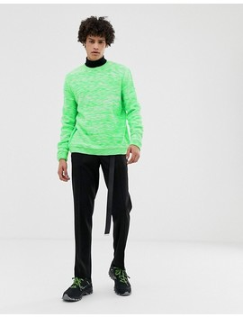 Asos Design Textured Space Dye Knit Sweater In Neon Green by Asos Design