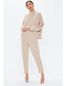 Sand High Neck Drop Shoulder Sweatshirt by Missguided