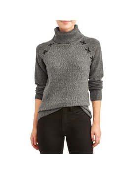 Women's Cowl Neck Lace Up Detail Sweater by Thyme + Honey