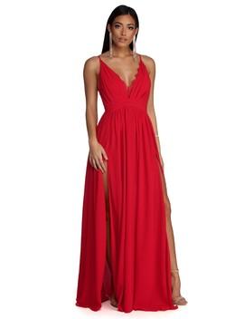 Angelique Formal High Slit Lace Dress by Windsor