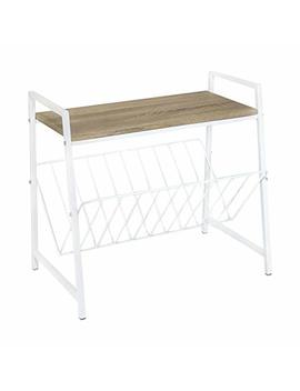 Side Table With Magazine Rack (White Steel) by Kennyn Elvis