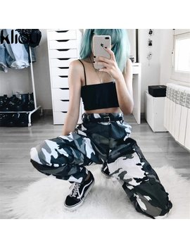 Kliou 2017 Women Camouflage Jogger Pants Women Military Loose Pants Cotton Pantalon Femme Trouser Full Length Straight  Pants by Kliou