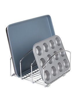 M Design Metal Wire Cookware Organizer Rack For Kitchen Cabinet, Pantry And Shelves   Organizer Holder With Three Slots For Cookie Trays, Muffin Tins, Bread Pans, Cutting Boards   Chrome by M Design