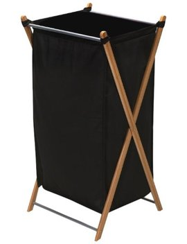 Household Essentials 6540 1 Collapsible X Laundry Hamper | Bamboo Frame With Black Canvas Bag, Brown by Household Essentials