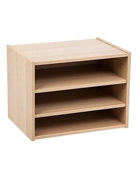Iris Usa, Sbs Lb, Modular Wood Storage Organizer Cube Box With Adjustable Shelves, Light Brown, 1 Pack by Iris Usa, Inc.