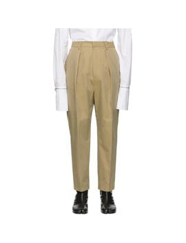 Beige Pleated Trousers by Juun.J