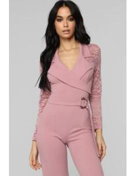 Pay Up Lace Jumpsuit   Mauve by Fashion Nova
