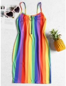 Rainbow Stripe Jersey Cami Mini Dress   Multi M by Zaful
