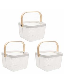 Doeworks 3 Pack Iron Art Basket, Fruit Basket, Stainless Steel Frying Basket, White Storage Organizer by Doeworks