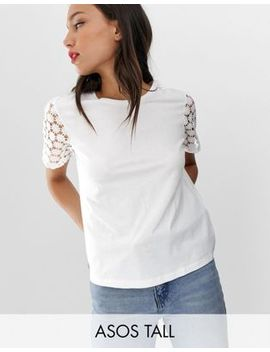 Asos Design Tall T Shirt With Lace Sleeve by Asos Design