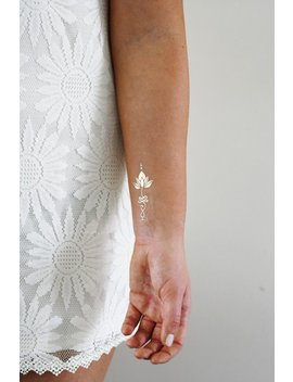 Gold Unalome Lotus Temporary Tattoo / Gold Temporary Tattoo / Lotus Tattoo / Boho Gift / Gold Tattoo / Festival Jewelry / Festival Tattoo by Etsy