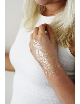 Gold Henna Temporary Tattoo / Bohemian Temporary Tattoo / Henna Tattoo / Gold Tattoo / Flash Tattoo / Festival Accessoire / Metallic Tattoo by Etsy