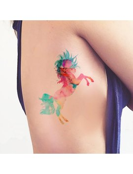 Unicorn Watercolor   Temporary Tattoo by Etsy