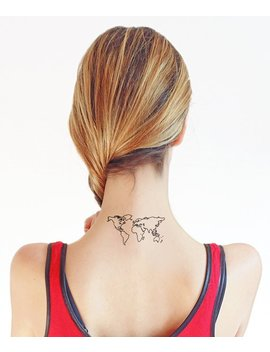 World Map   Temporary Tattoo (Set Of 2) by Etsy