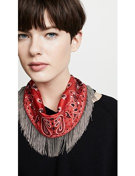 Fringed Silk Loop Scarf by Alexander Wang