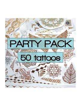 Surprise Mix Of Metallic Tattoos With Some Color Highlights  For Party Favours, Raves, Flash, Festivals, Bachelorette, Stick On, Bollywood by Etsy