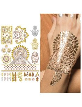 Metallic Gold Bronze Silver Henna W/ Hamsa Flower Designs Temporary Tattoo (1 Sheet)   Indian Princess by Etsy