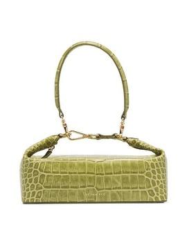 Green Olivia Crocodile Embossed Leather Box Bag by Rejina Pyo