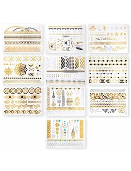 Rel & Co Jewelry Inspired Metallic Tattoos. Set Of 75+ Non Toxic Exceptional Temporary Tattoos   10 Sheets Included! (Black) by Amazon