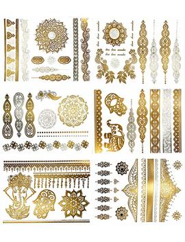 Temporary Boho Metallic Henna Tattoos   Over 75 Mandala Mehndi Designs In Gold And Silver (6 Sheets) Terra Tattoos Jasmine Collection by Amazon
