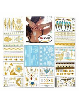 Metallic Flash Tattoos,Konsait 196 Designs   Jewelry Bling Temporary Tattoos & Body Art Indian Henna White Henna Lace Tattoo Gold Silver Holiday Gift Present 14 Sheets by Amazon