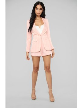 Straight Down To Business Stripe Set   Pink/White by Fashion Nova