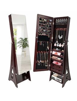 Suncom 6 Led Jewelry Cabinet, Full Length Mirror Standing Jewelry Armoire Lockable Storage Organizer With 4 Drawers (Standing Jewelry Cabinet, Brown) by Suncom