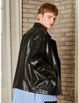 Drop Oversize Faux Leather Jacket Black by Yan13