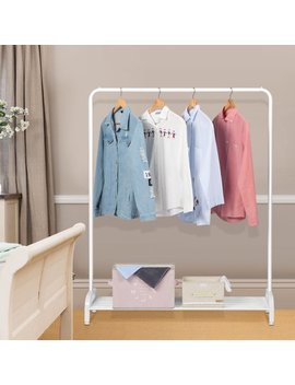 Langria Simple Heavy Duty Closet Clothing Shoe Shelf Storage And Organizer Garment Hanging Rack With Top Rod And Lower Storage Shelf Milk White by Langria