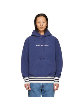 Navy Reverse Fleece Hoodie by AimÉ Leon Dore