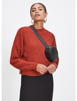 Rust Funnel Neck Pointelle Knitted Jumper by Miss Selfridge