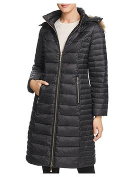 Faux Fur Trim Hooded Puffer Coat by Kate Spade New York