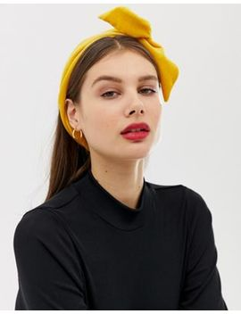 Asos Design Wire Twist Headband In Velvet In Mustard by Asos Design