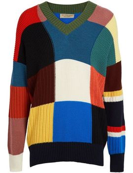 Patchwork Wool V Neck Sweater by Burberry