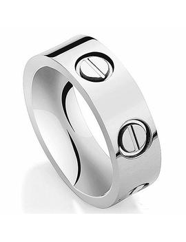 Jo Gray Titanium Steel Cubic Zirconia Couple Engagement Wedding Rings by Jo Gray